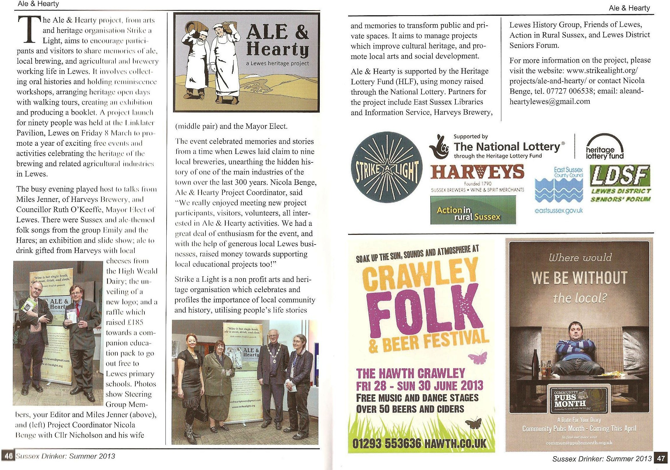 Ale and Hearty article in Sussex Drinker