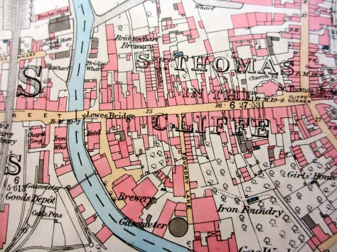OSmapof Lewes including malthouses and breweries