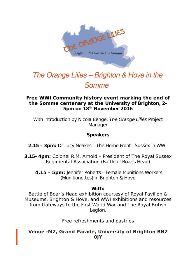 The Orange Lilies Community History Event – 22nd November