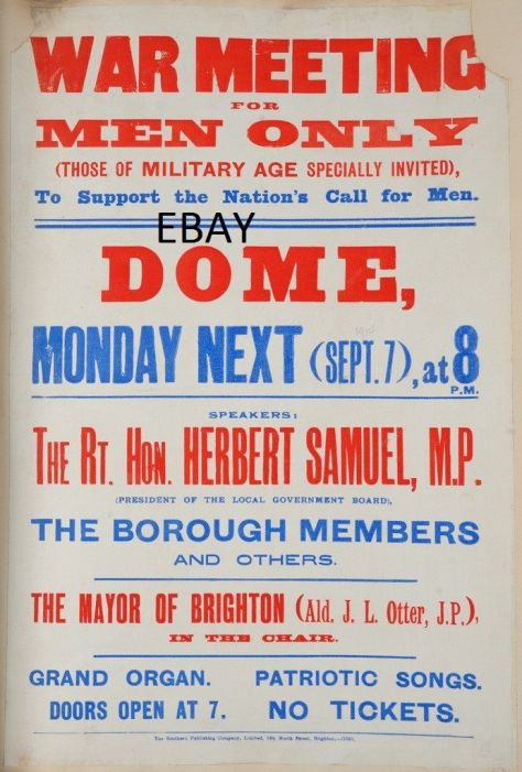 ww1-recruiting-poster-war-meeting-brighton-dome-british