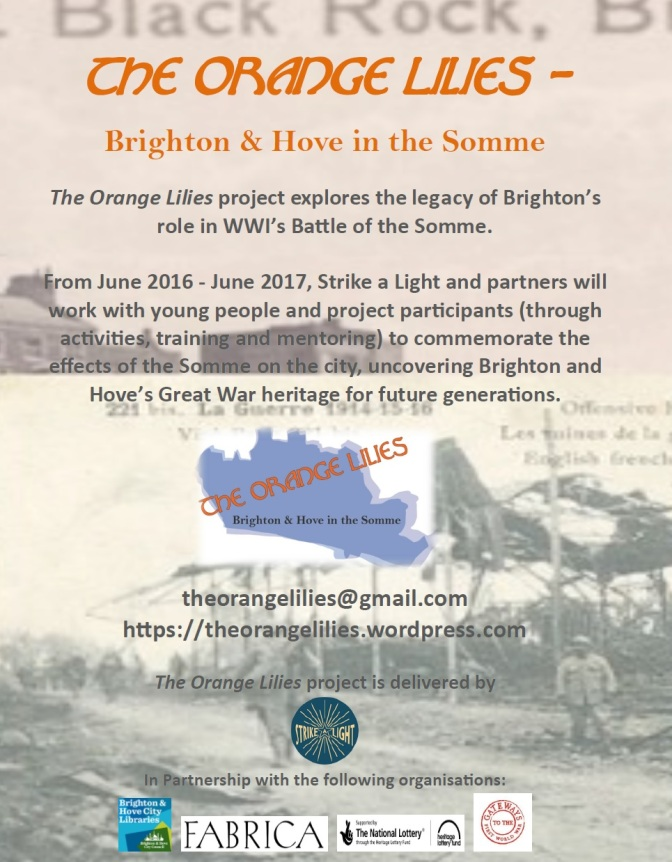 Brighton & Hove in WWI – Free Event Day (The Orange Lilies – Brighton & Hove in the Somme): Friday 30th June 11-4pm