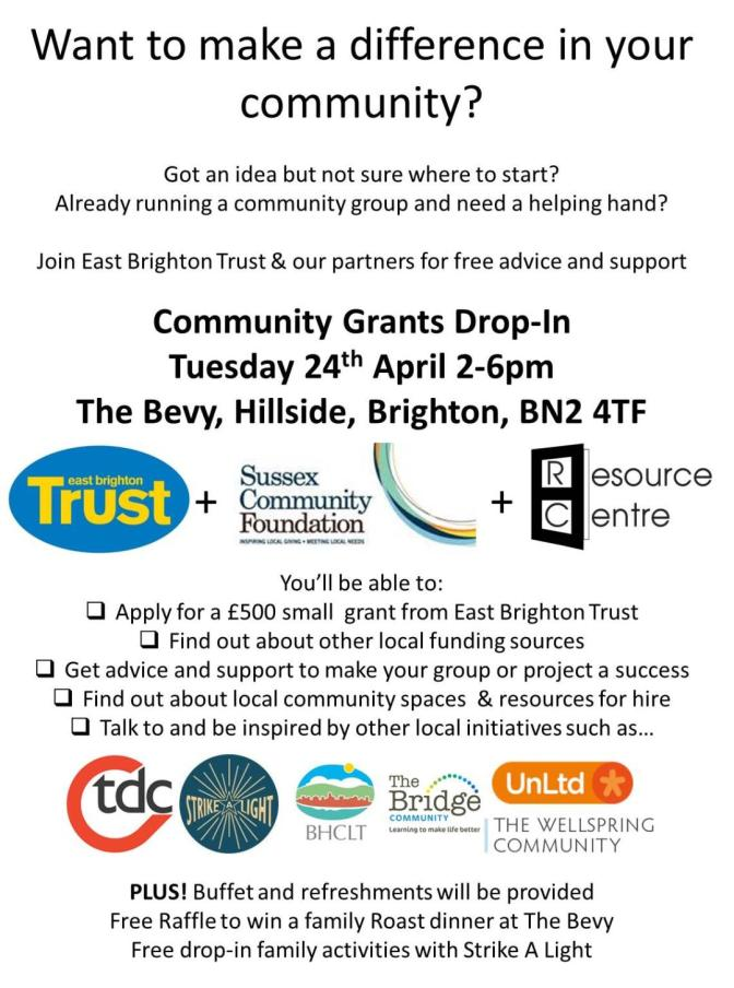 East Brighton Trust Community Grants Drop-In 24th April